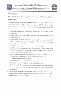 Press Release COVID-19 Tarakan 1 Juli 2020 - Tarakan Info