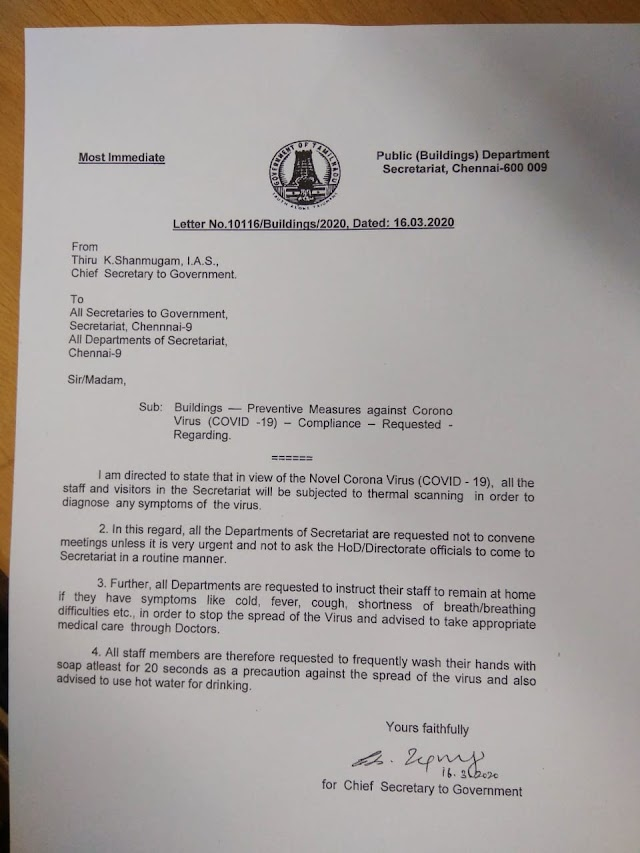 Covid-19 -chief Secretary official letter