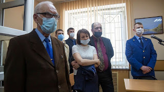 Members of the Jehovah's Witnesses attend a court session in Perm, Russia,