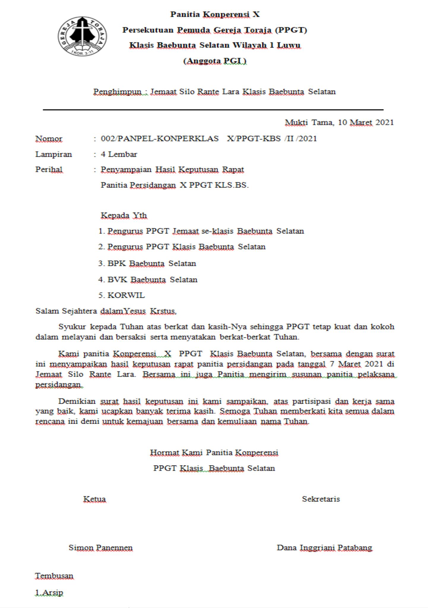 Surat Hasil keputusan rapat panitia Konperensi PPGT
