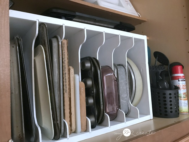 Organize with a DiY Tray divider in your kitchen