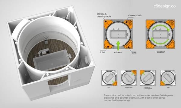 Imagen del renderizado de un proyecto de baño modular