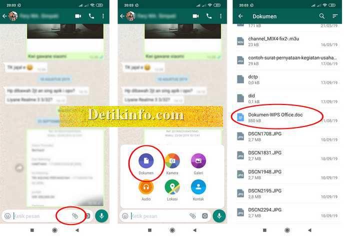 tombol menu kirim dokumen di whatsApp