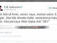 Kicau Twitter SBY: Bapak Maruf Amin Mohon Sabar dan Tegar, Jika Dimata-matai Sasarannya Bukan Bapak