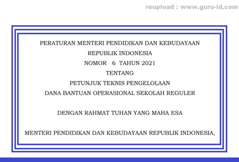 gambar permendikbud nomor 6 tahun 2021 tentang juknis bos 2021/2022