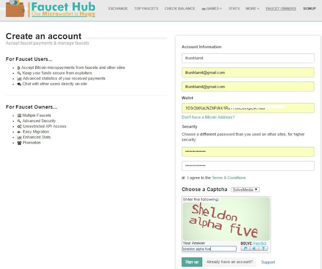 đăng ký faucethub