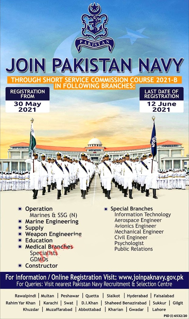 Pakistan  Navy Latest  Jobs 2021 through Short Service Commission Course 2021-B - Apply online