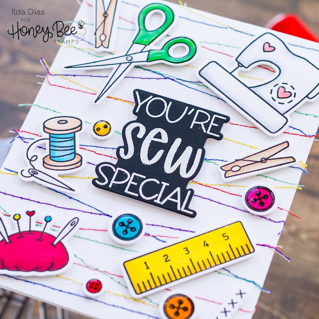 You're Sew Special, Crafty, Friendship Card,Honey Bee Stamps, Card Making, Stamping, Die Cutting, handmade card, ilovedoingallthingscrafty, Stamps, how to,  stitched,Sewing,punny sentiments,