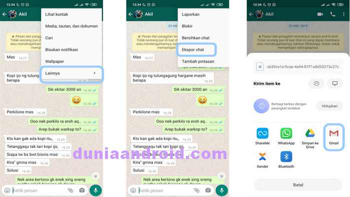 Menu ekspor Chat WhstApp ke Email