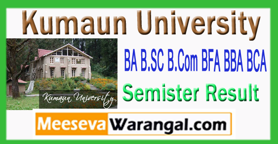 Kumaun University BA B.SC B.Com BFA BBA BCA 2nd 4th 6th Result 2017