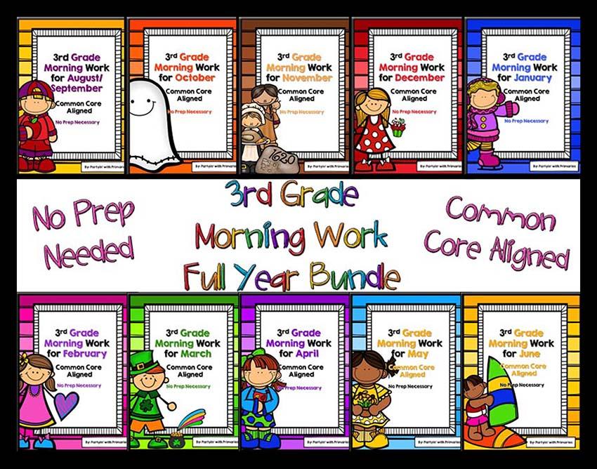 Third Grade Math and ELA Morning Work TPT Morning work