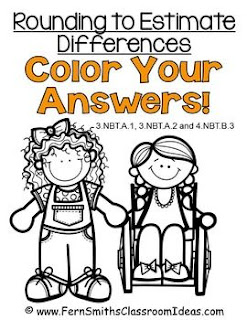 Fern Smith's Classroom Ideas Rounding to Estimate Differences - Color Your Answers Printables