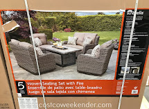 Agio 5-piece Woven Deep Seating Set With Fire Table