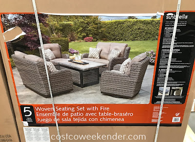 Costco 1500042 - Outdoor entertaining doesn't get any better with the Agio Woven Deep Seating Set with Fire Table