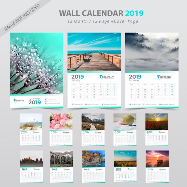 Plantilla para calendario de pared mes a mes del año 2019