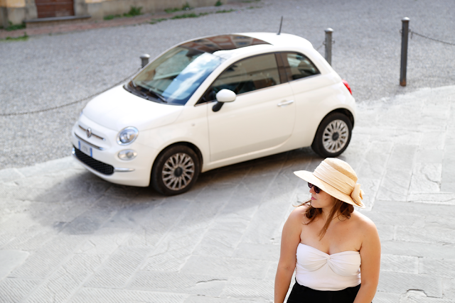 Katy with white Fiat 500 in San Miniato Tuscany Italy