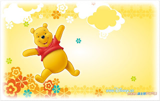 Winnie the Pooh at Spring: Free Printable Frames, Invitations or Cards.