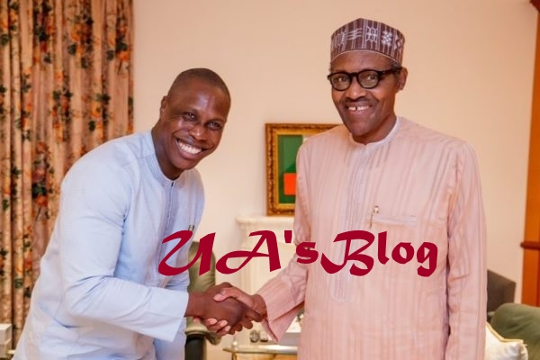 Photos As Obasanjo's Son Meets Buhari, Tells Him To Ignore His Dad