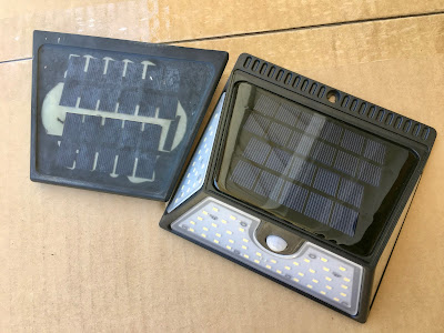 Comparison of the broken one-year-old solar panel to a brand-new one.