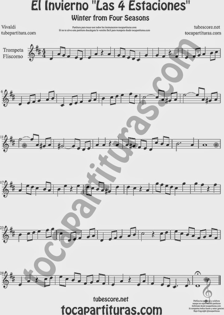 El Invierno de Vivaldi Partitura Fácil de Trompeta y Fliscorno Sheet Music for Trumpet and Flugelhorn Music Scores Easy Winter Sheet Music