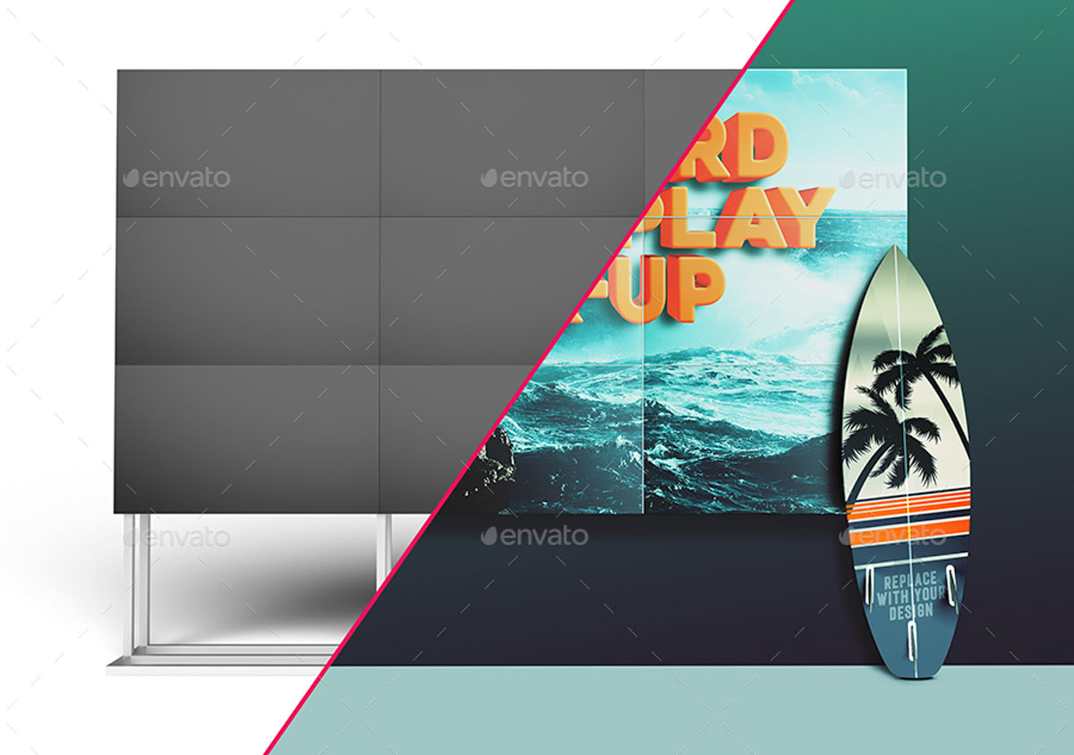 3D Animated Surfboard and HD Display Mock Up Scene Template 27056336.