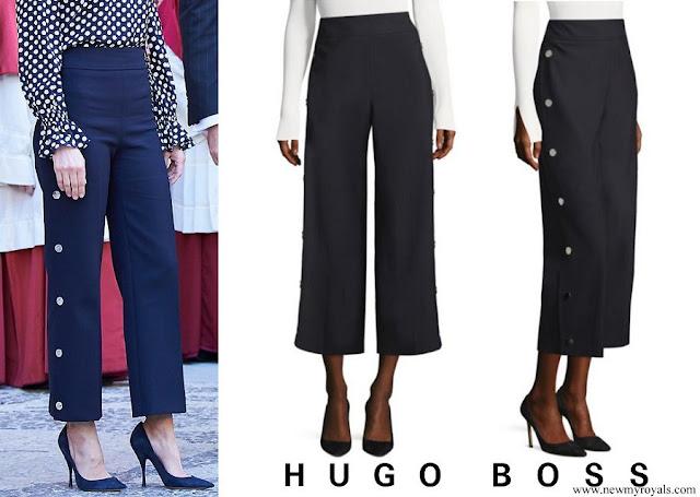 Queen Letizia wore HUGO BOSS High Waist Wide Leg Pants