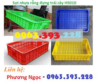 Sóng nhựa hở HS010, sọt nhựa cao 10 đựng nông sản, thùng nhựa rỗng HS010 SR6