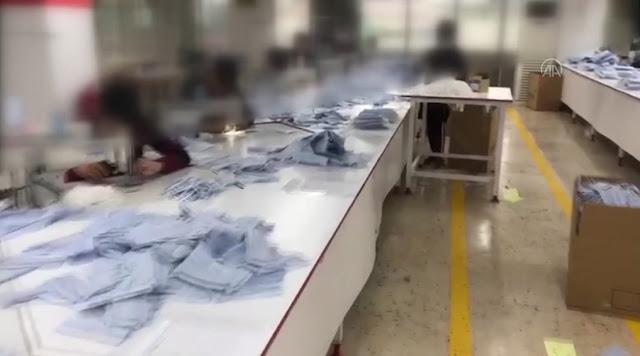 Kaçak maske üretimi yapan atölye kapatıldı