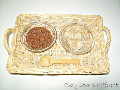 Montessori-inspired Africa Unit: Spooning Red Quinoa
