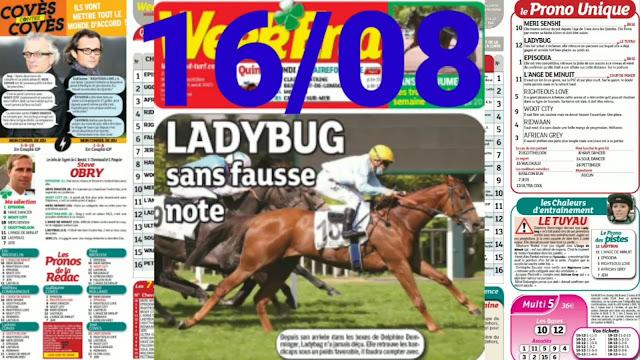 Pronostic quinté+ pmu Lundi Paris-Turf TV-100 % 16/08/2021