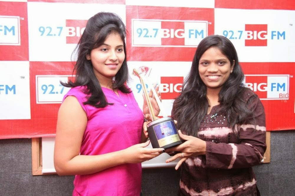 Anjali photos in pink top at 92.7 big fm for masala movie promotion