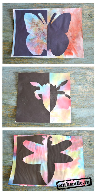 Insects crafts for kids. Positive and Negative Space. Рисуем с детьми насекомых. Трафареты для аппликации.