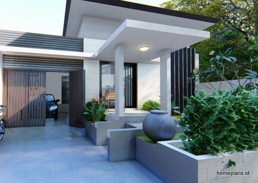 A Desain Rumah 1 Lantai Ala Villa N Cafe 10x20m Kode 076