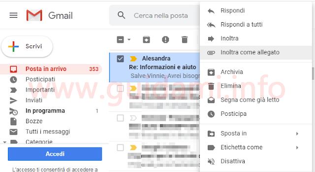 Gmail menu contestuale opzione Inoltra email come  allegato