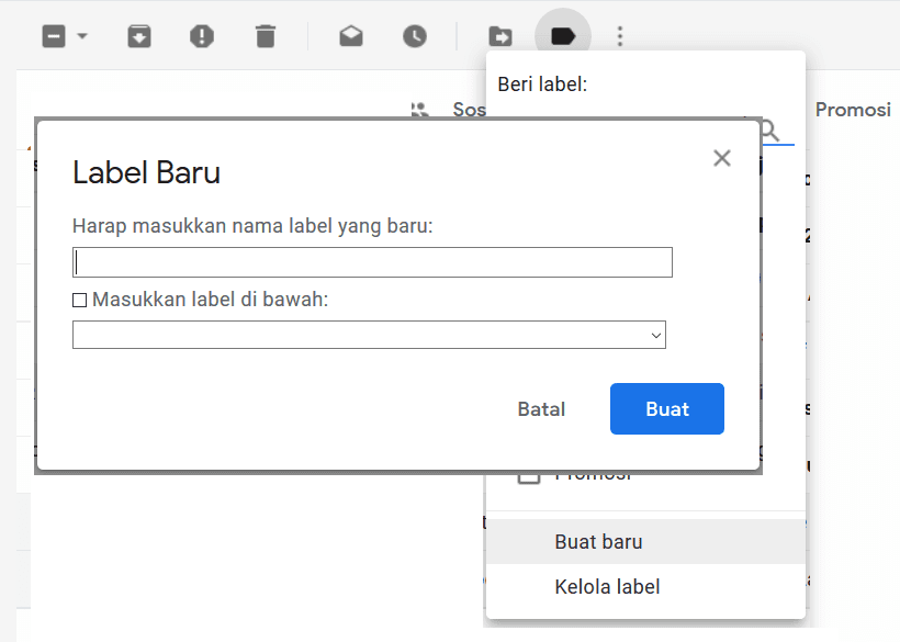Membuat label email Gmail Komputer