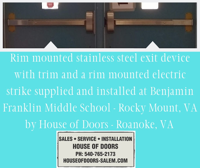 Rim mounted stainless steel exit device with trim and a rim mounted electric strike supplied and installed at Benjamin Franklin Middle School - Rocky Mount, VA by House of Doors - Roanoke, VA