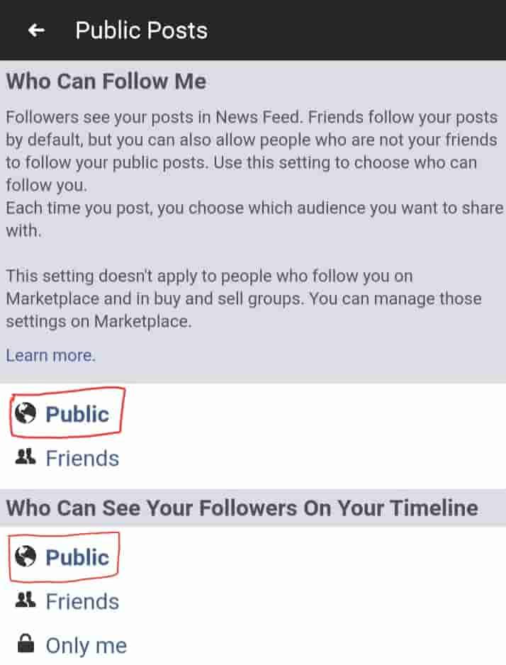 Set followers to public