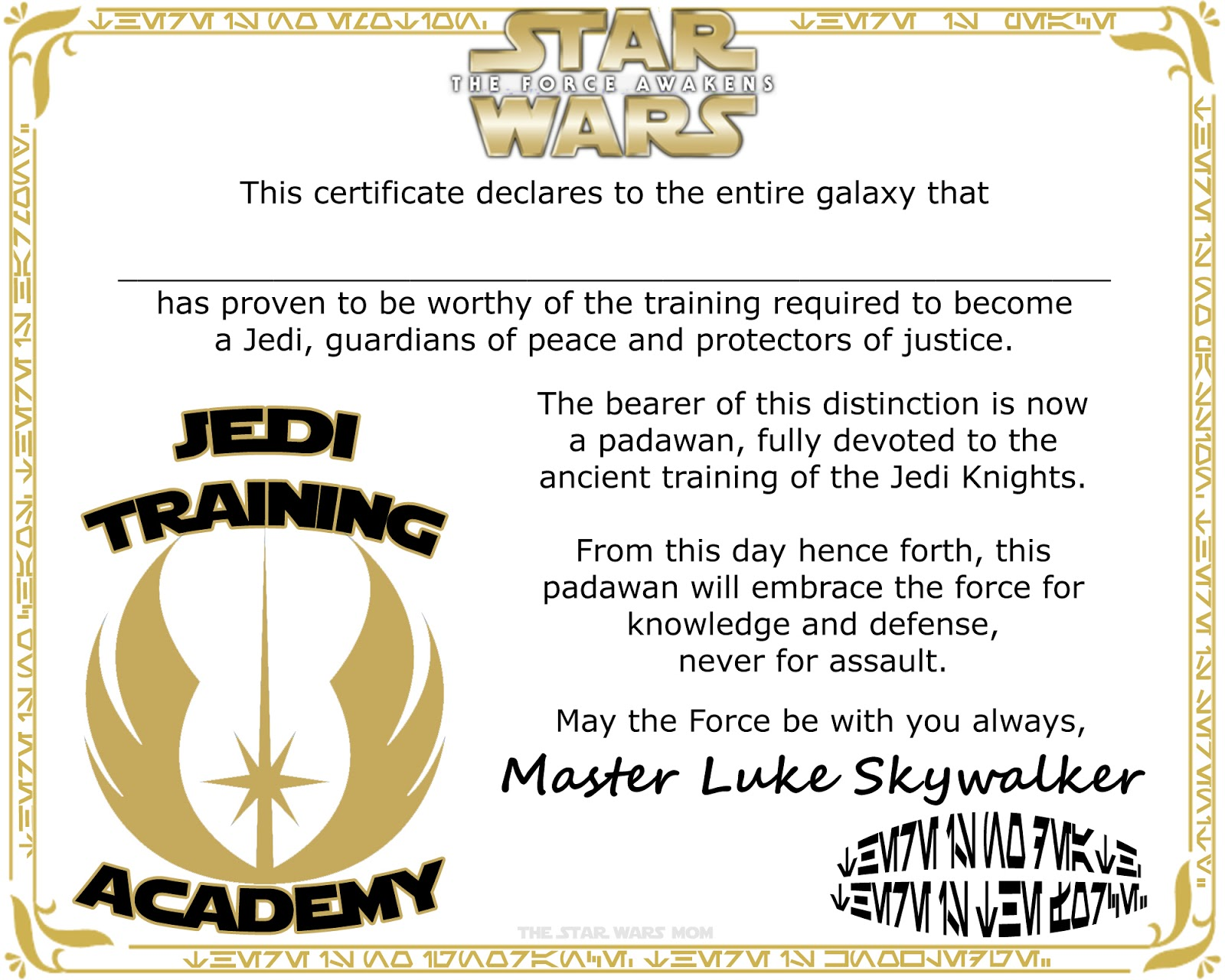 Star Wars Jedi Training Academy Certificate Free Printable (click On Image  To Print Or Download)  Certificates Free Download Free Printable
