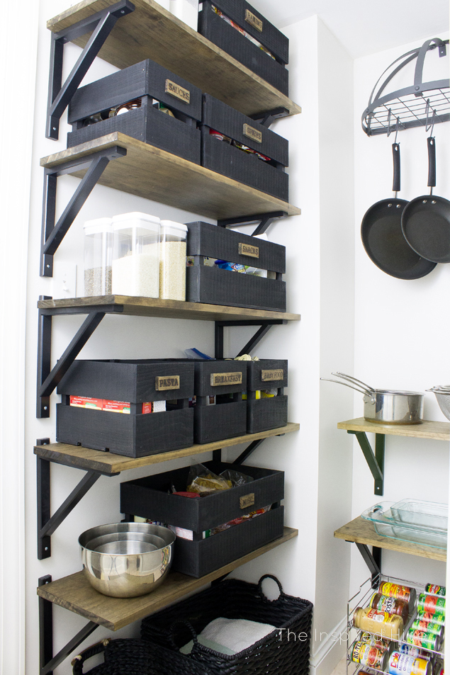DIY industrial farmhouse pantry shelving. Wooden crates for food storage are a great idea to get organized!