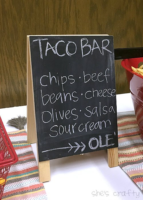 Taco Bar Relief Society Party Idea - Taco 'Bout Fun meet and greet party - taco bar menu