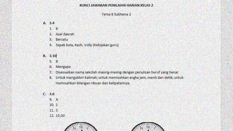 Soal Penilaian Harian Kelas 2 Tema 8 Subtema 2 dan Kunci Jawaban