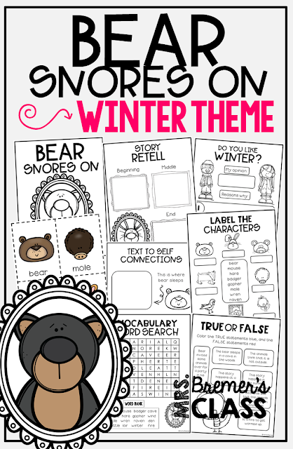 Bear Snores On book study companion activities. Perfect for a winter theme in the classroom! Packed with fun ideas and guided reading literacy activities. Common Core aligned. K-2. #bearsnoreson #hibernation #winter #bookstudy #bookstudies #literacy #guidedreading #1stgrade #2ndgrade #kindergarten #bookcompanion #bookcompanions #1stgradereading #2ndgradereading #kindergartenreading #picturebookactivities #winterbooks