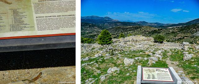 Placas informativas no Sítio Arqueológico de Micenas, Grécia
