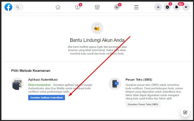 menu aplikasi otentikasi di Facebook