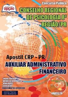 Apostila concurso CRP PR impressa 2017 para Auxiliar Administrativo / Financeiro.