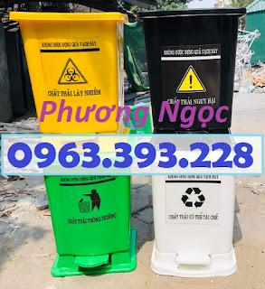 Thùng rác đạp chân y tế, thùng rác y tế nhựa HDPE, thùng rác bệnh viện