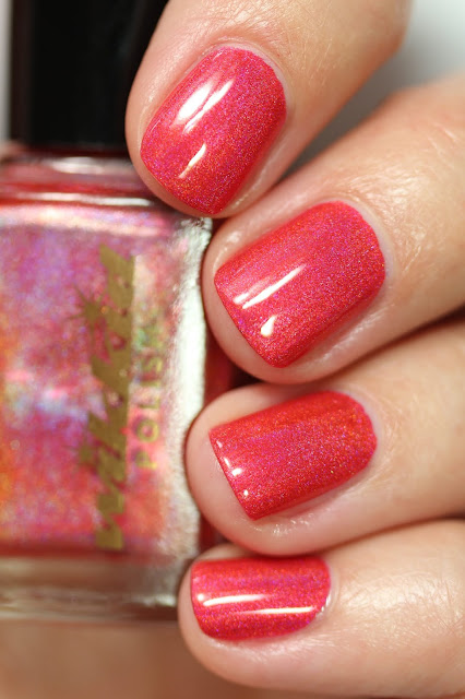 red coral nail polish with holographic finish