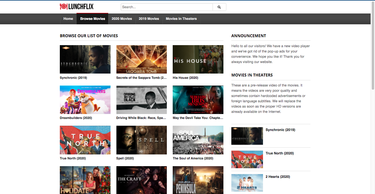 LunchFlix movies site
