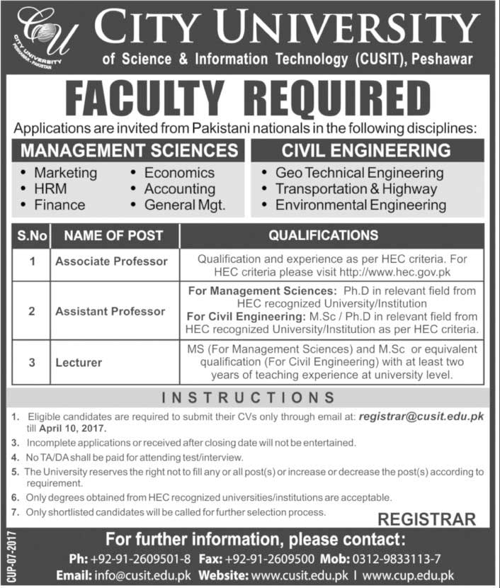 City University of Science & Information Technology CUSIT Peshawar JObs