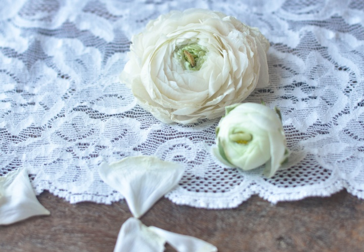 White Ranunculus on lace #dreamy